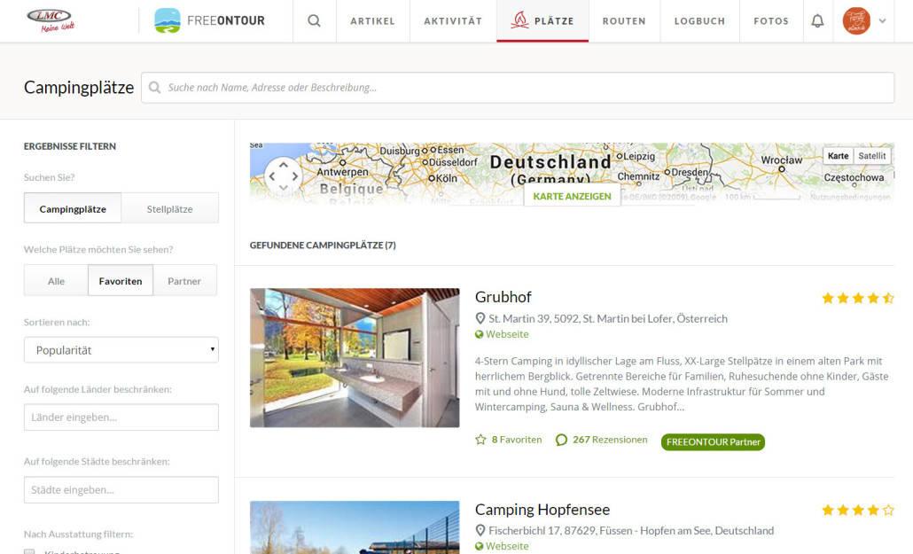 freeontour.com Campingplatz-Datenbank